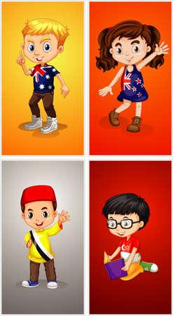 Four kids on different backgrounds illustration