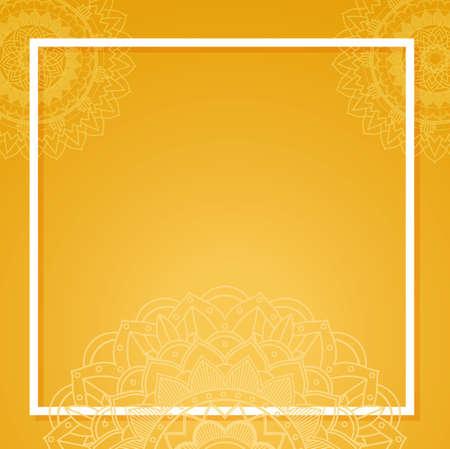 Yellow background with mandala patterns illustration