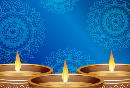 Candle lights on blue mandalas background illustration