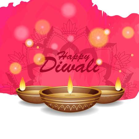 Background with mandala pantern for happy diwali festival illustration Illustration