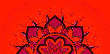 Mandala patterns on red background illustration