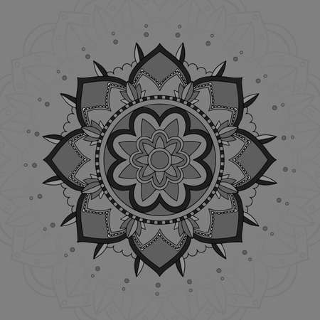 Mandala pattern design on gray background illustration Illusztráció