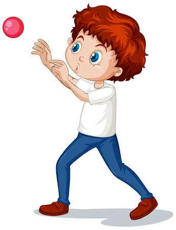 Ragazzo che gioca a palla su sfondo bianco illustrazione Vettoriali