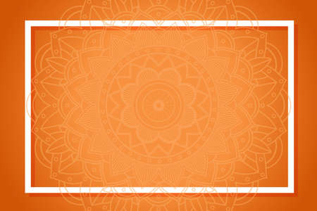 Orange background with mandala designs illustration