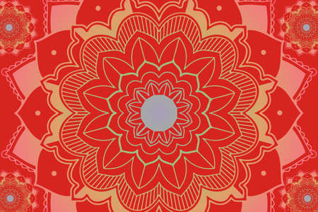 Mandala patterns on red background illustration