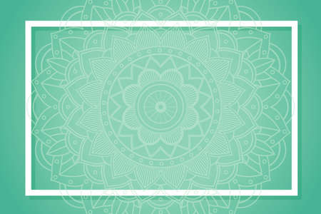 Green background with mandala patterns illustration Illusztráció