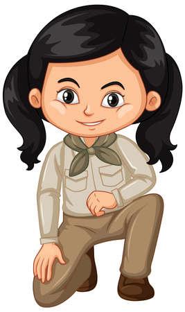 Chica en traje de safari en la ilustración de fondo blanco