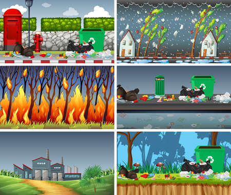 Set of polluted scenes illustration