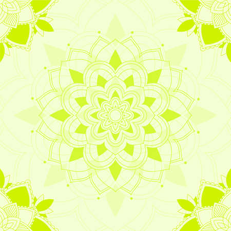 Mandala patterns on green background illustration