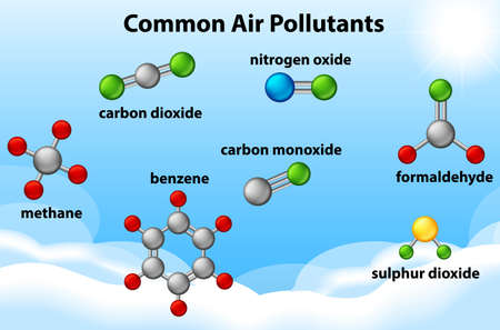 Diagram showing common air pollutants illustration