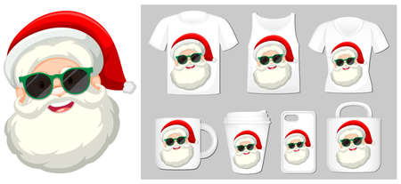 Christmas theme with Santa face on many products illustration