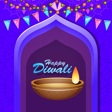 Background with mandala pantern for happy diwali festival illustration Illusztráció