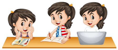 Girl with happy face doing three different things on table illustration