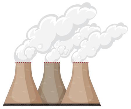 Factory chimneys with smoke illustration