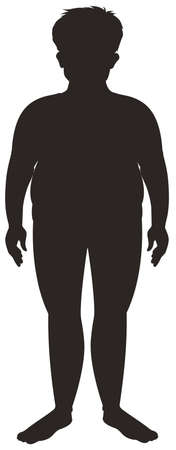 Silhouette human male on white background illustration