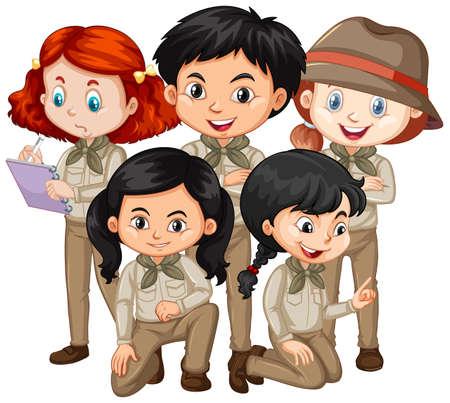 Five children in safari outfit standing illustration