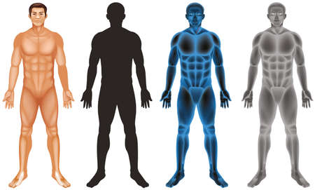Man and different body on white background illustration