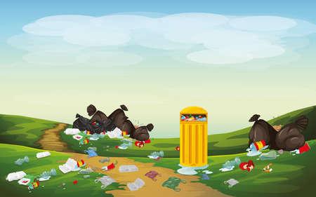 Rubbish in park scene illustration Standard-Bild - 136078386