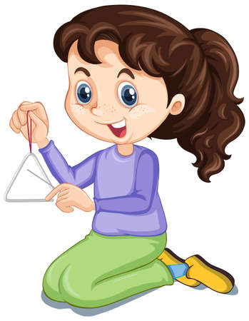 Girl with triangle on isolated background illustration