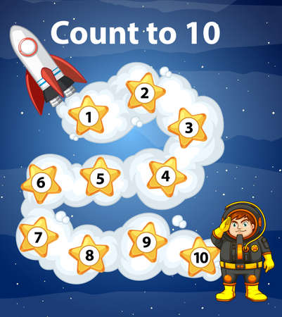 Game design with counting to ten in space illustration