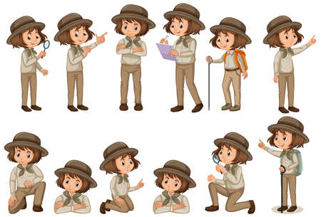 Set of girl in safari outfit doing different poses illustration Ilustração