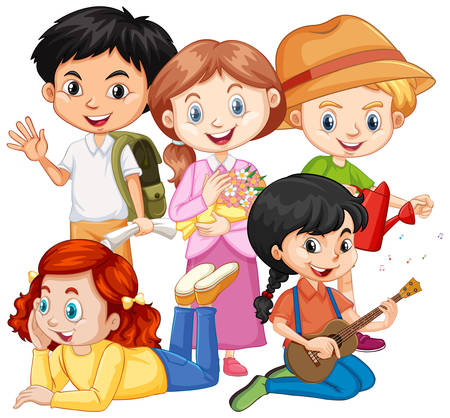 Cinq enfants avec différents passe-temps illustration Vecteurs