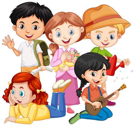 Fünf Kinder mit verschiedenen Hobbys Illustration Vektorgrafik