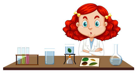 Girl in science gown sitting at the table illustration