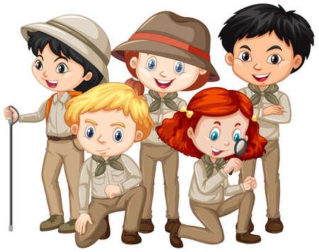 Cinque bambini in abito da safari su sfondo isolato illustrazione