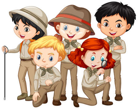 Five children in safari outfit on isolated background illustration