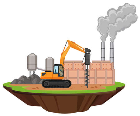 Scene with factory buildings and drill on the site illustration