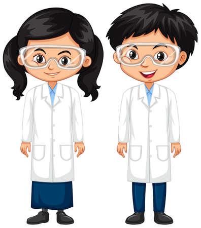 Junge und Mädchen in der Wissenschaftskleidillustration