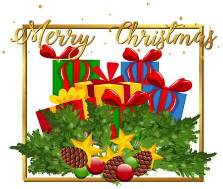 Christmas theme with many present boxes illustration