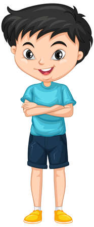 Boy in blue shirt on isolated background illustration