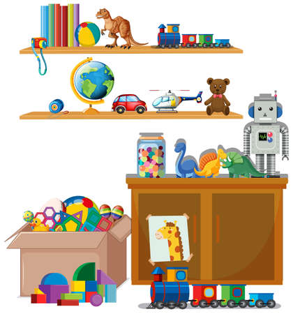 Scene with many toys on the shelves illustration Ilustración de vector