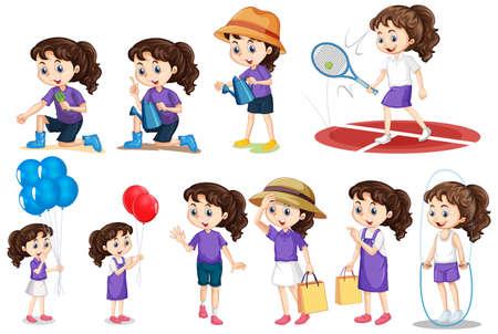 Set di ragazza che fa diverse attività su sfondo isolato illustrazione Vettoriali
