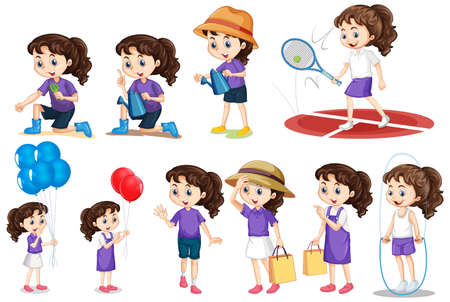 Set of girl doing different activities on isolated background illustration Vektorové ilustrace