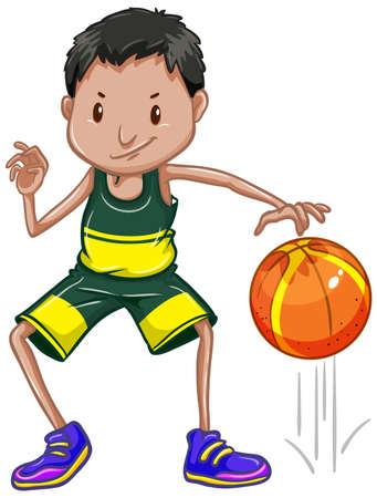 Athlete bouncing basketball on white background illustration