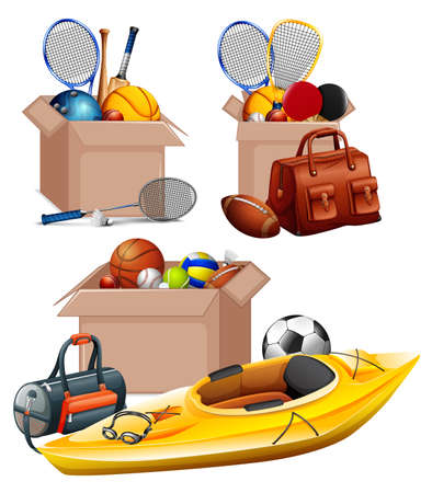Set of boxes full of sport equipments on white background illustration