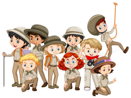 Boys and girls in scout uniform illustration