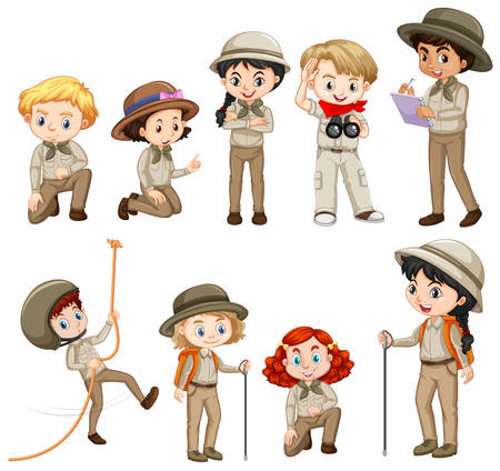 Different characters in safari outfit illustration