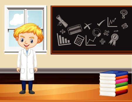 Scena con scienziato maschio in piedi in aula illustrazione
