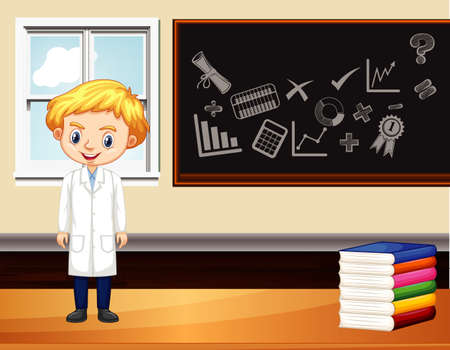 Szene mit männlichem Wissenschaftler, der in der Klassenzimmerillustration steht
