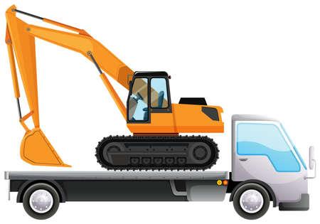 Camion de remorquage transportant un gros tracteur à grue sur fond isolé illustration