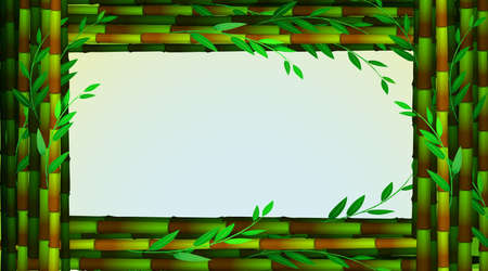 Frame template with green bamboo trees illustration
