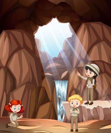 Scene with three kids exploring cave illustration