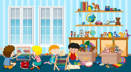 Scene with many kids playing toys in the room illustration