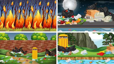 Set of polluted scenes illustration Standard-Bild - 136480608