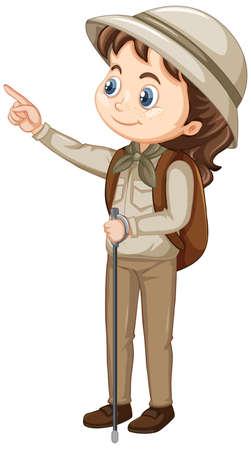 Girl with walking stick on isolated background illustration Ilustração