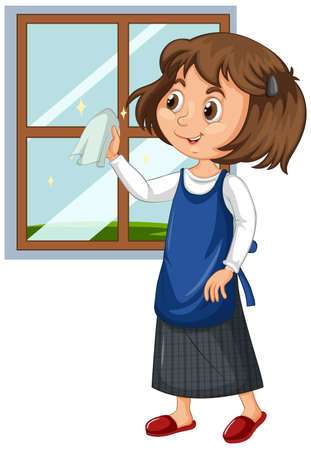 Girl cleaning window on isolated background illustration